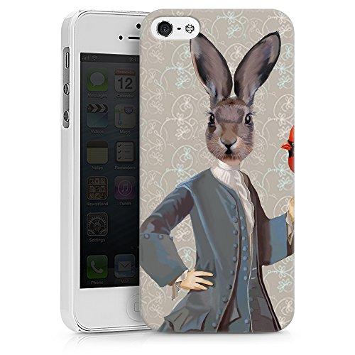 """artboxONE Handyhülle Apple iPhone 6, weiß Silikon-Case Handyhülle """"Lyrischer Hase Case"""" - Tiere - Smartphone Silikon Case mit Kunstdruck hochwertiges Handycover von FabFunky Hard Case weiß"""