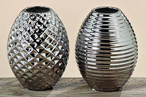 floristikvergleich.de 2 x dekorative Vase Celly silber Blumenvase Dekoration Geschnek Dekovase