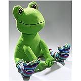 Frosch sitzend mit Ringelsocken und großen Augen aus Plüsch ca. 40cm