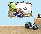 Super Mario Kart 3D Effekt zerstörten Loch in Wand Vinyl Aufkleber–geeignet für Kinder Schlafzimmer Wände, Türen und Fenstern., plastik, Extra Large 80 x 58cm