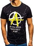 BOLF T-Shirt - Maglietta Maglia- Stampa - Neck Rotonda - Stile Casual - di Moda - da Uomo J-Style 100661 Nera L [3C3]