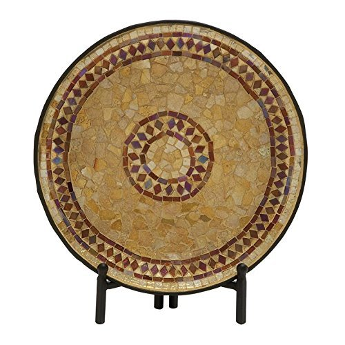 Deco 79 24189 Metal Mosaic Platter W Stand, 14 by Deco 79