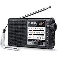 Radio PRUNUS J-01, Excellent Réception FM/AM(MW)/SW/Micro SD/MP3/WMA, Portable Transistor DSP, Batterie Rechargeable et Remplaçable de 2200mAh (20h d'écoute) [FM: 76-108MHz]