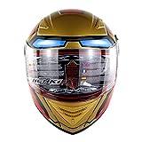 zyy Helm 12K Carbon Fiber Vintage Motorrad Half Helm Helm Reiten Durchschnittliche Code Schutz Doppelobjektiv Anti-Fog Männer und Frauen Vier Jahreszeiten Volldeckung (Farbe : Red, Größe : XL60-62cm)