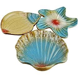 Vintage estilo mediterráneo Seashell de estrella mar Uñas cerámica Snack Caddy Frutas Sushi Platos de postre de Vajilla Home Decor- Juego de 3