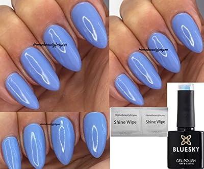 Bluesky KA1463 Serenity Blue Nail Gel Polish UV LED Soak Off 10ml PLUS 2 Homebeautyforyou Shine Wipes