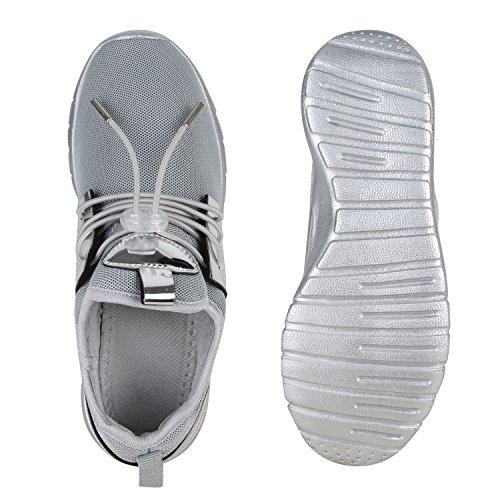 Damen Sportschuhe Runners Lack Metallic Laufschuhe Sneakers Grau Metallic