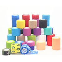 Preisvergleich für YCNK 5 Pack 2 Zoll X 5 Yards Self Adherent Cohesive Wrap Bandagen Flexible Stretch Athletic Tape mit starken Elastik...