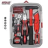 Apollo 41-teiliges Heimbesitzer-Werkzeugset inklusive stabiler Kombizange, verstellbarem Schraubenschlüssel, Allzweckmesser und vibrationsarmem Fiberglas-Hammer -- in stabiler, wiederverwendbarer Box