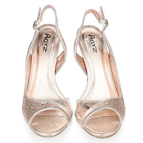 Aarz Frauen-Dame-Abend-Hochzeitsfest -Absatz-geöffnete Zehe Diamante Braut Sandalen Schuhe Größe (Gold, Silber, Champagner, Rot, Schwarz) Champagner