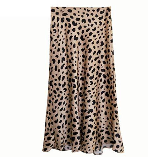 Vintage Cintura Alta Faldas Midi patrón de Leopardo Falda de Las Mujeres Sexy Slim Wild Falda de Las Mujeres Estilo de Deslizamiento Falda Falda