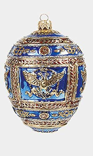 Pinnacle Peak Trading Company Blue Imperial Napoleon Egg Faberge Inspired Polish Blown Glass Holiday Ornament