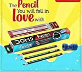 #8: Gsm® Doms fusion x-tra super dark pencil, a pack of 10 pencils with a free sharpener - eraser and 15 cm scale free