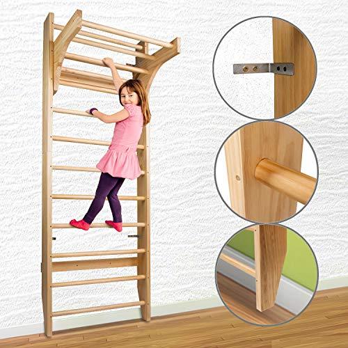 CCLIFE Sprossenwand Kletterwand Turnwand höhenverstellbare Klimmzugstange Klettergerüst Holz