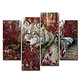 Peinture d'art murale à 4 pièces - Illustration de loup dans les bois imprimé sur toile - Impression à huile - Décoration moderne pour la maison...