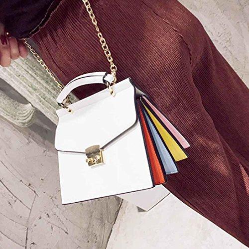 BZLine® Frauen Handtasche Umhängetasche Messenger Large Tote Leder Tasche, 21cm*15cm*17cm Weiß