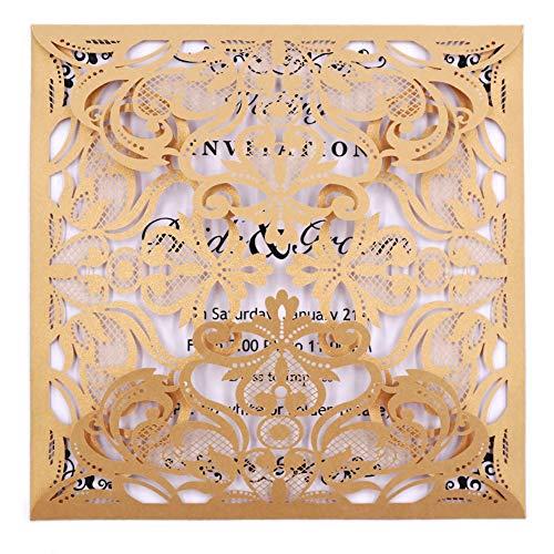 nladungen 50Stück eleva Laser geschnitten Hochzeit Einladungen Card Kit, mit blanko bedruckbar Papier und Umschläge für Hochzeit, Geburtstag Parteien, Baby Dusche (Gold) ()