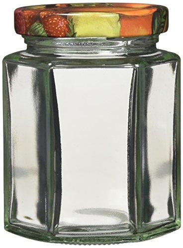 axentia Einmachgläser mit Schraubdeckel - Marmeladengläser Set 7-teilig - Einweckgläser Vintage sechseckig für 191 ml - Vorratsglas mit Deckel in Bunt