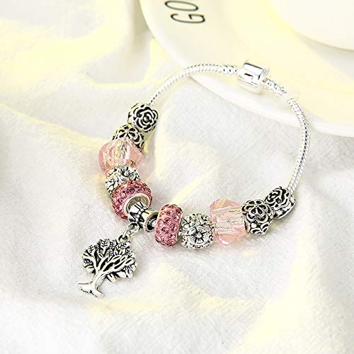 YOYOYAYA Tree of Life Charm Brand Bracelet Antique Silver Color Flower Beads Bracelets & Bangles Fashion Jewelry Gift -