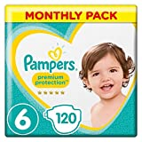 Pampers Premium Protection Size 6, 120 Nappies, (13-18/15+ kg) Monthly Pack