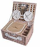 eGenuss Weidenpicknickkorb 4 Personen Geschirr Picknick Korb Weidenholz Tasche Weidenkorb mit Kühlfach Picknickset (Weiß)
