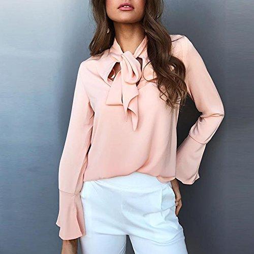LAEMILIA Femme Chemise Automne Lacet Maches Longues Uni Basique Mousseline de soie Elégante Official Veste Haute Blouse Top Rose