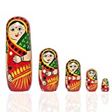 Fine Craft India Set Of 5Pcs Hand Painted Cute Wooden Russian Matryoshka Stacking Nested Wood Dolls Red