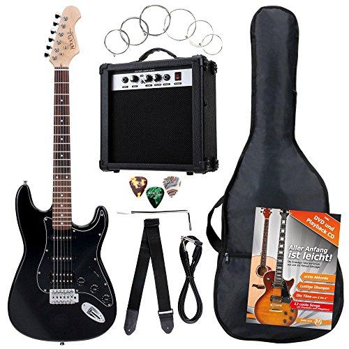 Rocktile Banger's Power Pack Komplettset E-Gitarre mit Single Coil und Humbucker Pickups Schwarz (Verstärker, Tasche, Kabel, Gurt, Plecs, Tremolo, Ersatzsaiten und Schule mit CD/DVD)