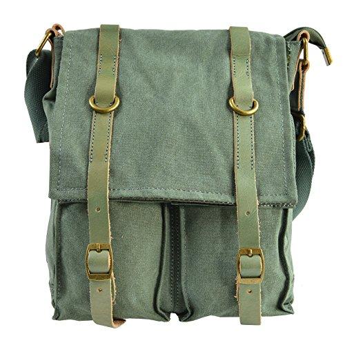 CTM Croix-corps sac en toile pour homme et femme, solide et bandoulière réglable, détails en cuir véritable 25x30x9 cm