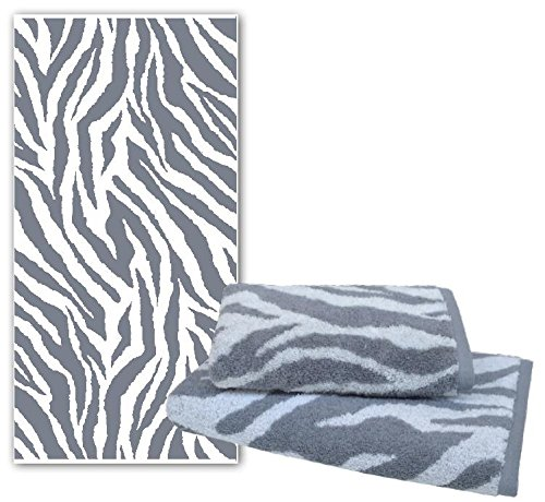 Dyckhoff Handtuch Duschtuch Badetuch Zebra grau weiß mit Bordüre *NEU* (Duschtuch 70 x 140 cm, Zebra ) Grau Zebra