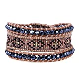 KELITCH European Antique Crystal and Seed Beaded Woven Cuff Bracelet - Brown