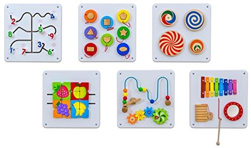 Betzold 756307 - Wandspiel Motorik-Spielzeug aus Holz - 6er-Set Wandelemente Wand-Spielzeug für Kinder ab 1 Jahre
