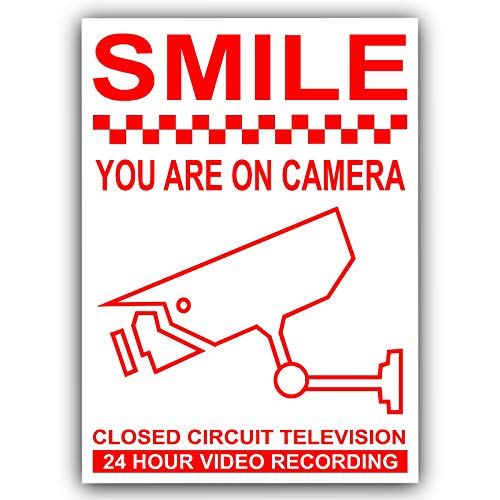6 x Smile You Are on-Kamera rot auf weiss, 120 mm, CCTV -Monitoring Videokamera Security Warnschild-Aufkleber, selbstklebend, Vinyl Home-security-sticker