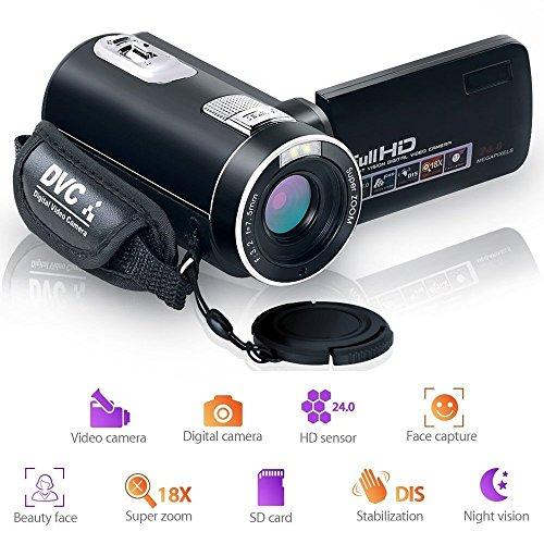 Videocámara Cámara de Video Visión Nocturna Función de Pausa Cámara Digital Full HD 1080P 24.0MP Cámara de Registro con Control Remoto