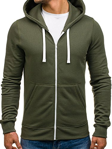 BOLF - Felpa – Con cappuccio – A zip – Stile sportivo – Di cotone – Con tasche – Da uomo [1A1] Khaki