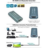 HDMI-HR20 HDMI Ripetitore Estensione v 2.0 Extender fino a 25m 4k@60Hz;35m 4k@30Hz/50m per 3D 1080p PS4 DVD HDTV Notebook Laptop Desktop PC Projector etc