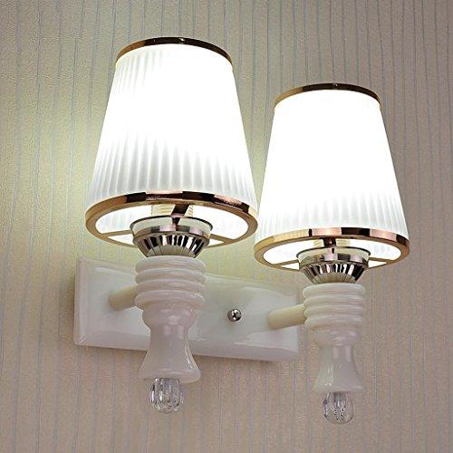 Warm Amber Glas (Wandleuchte Doppel - Kopf Nachttischlampe Einfache Schlafzimmer Warm Wohnzimmer Aisle Glas LED Korridor Eingang Treppenlampe)