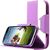 Galaxy S4 Case, S4 Case, ULAK PU Leather Flip Wallet Stand Case Cover for Samsung Galaxy S4 SIV i9500 i9505 With Screen Protector (Purple)