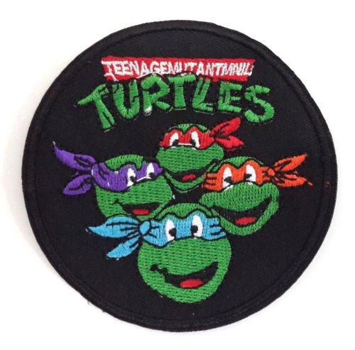 Teenage Mutant Ninja Turtles Schwarz/Grün bestickt oder Aufnäher Aufbügler Bügelbild (Turtles Hut Mutant Ninja Teenage)