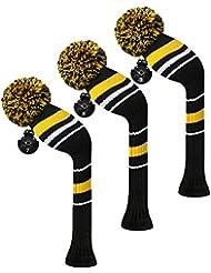 Scott Edward maderas de calle golf club cabeza Covers, alerta rayas, hilo acrílico double-layers de punto, 3 piezas paquete, giratorio con número etiquetas, 3 colores optiona, amarillo
