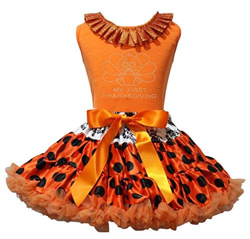 Thanksgiving Baby Türkei orange Shirt schwarz Dots Rock–74bis 122 Gr. xl, Orange (Türkei Baby Kostüme)