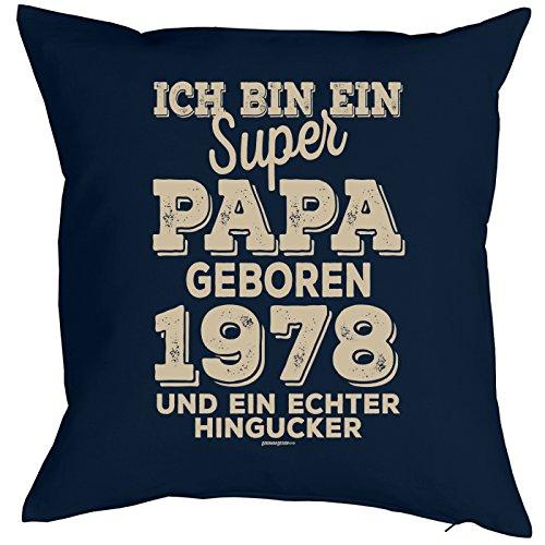 zum 40. Geburtstag Jahrgang geboren 1978 Papa Geschenk für Ihn Mann Deko Kissenbezug PAPA HINGUCKER Print Text Geburtstagsgeschenk Kissenhülle 40x40 cm : ) (40 Dekorationen Bday)