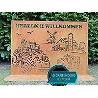 """Gartendeko Fockbek Stele""""Bauernhof mit Kühen und Trecker 1"""" in Edelrost (Rostdeko) ca 60 x 90 cm"""