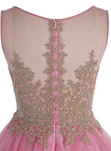 Bbonlinedress Robe courte de cérémonie Robe de soirée Robe de bal emperlée en tulle Lilas