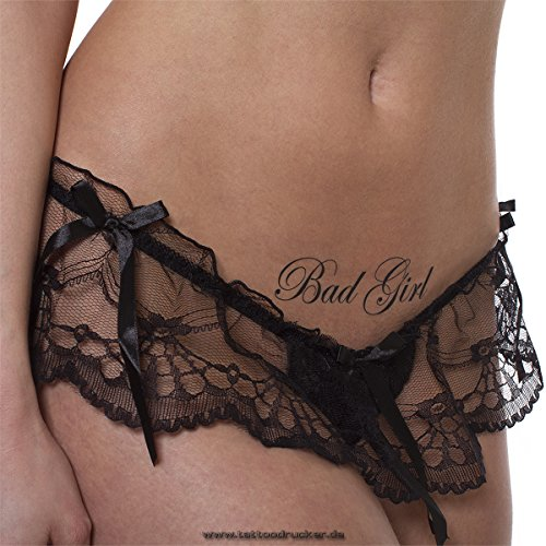 5x Bad Girl Tattoos Schriftzüge in schwarz - Sexy Kinky Tattoo (5)