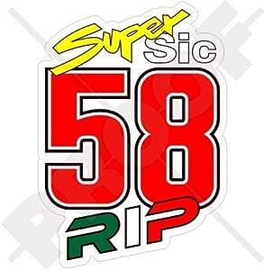 Marco Simoncelli 58 Super Sic Rip 100mm Motorrad Vinyl Fahrrad Helm Aufkleber Abziehbild Vinyl Sticker Garten