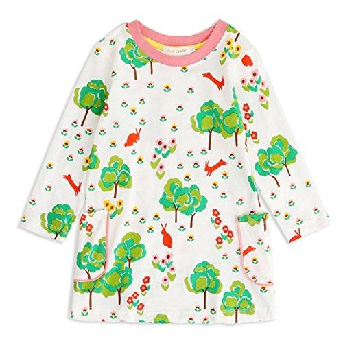 JERFER Baby Kleinkind-Mädchen Langarm Herbst Karikatur Cartoon Blumen und Vögel Drucken Prinzessin Kleid 2-11 Jahre (H, - Geld Tasche Kostüm Baby