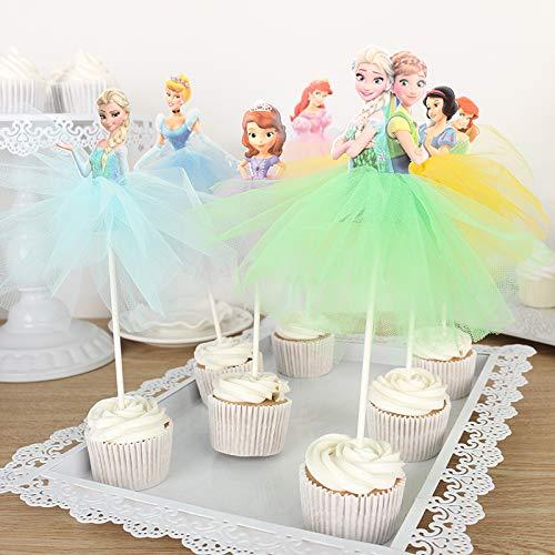 Uniqus 1 x Sofia/Tangled/Belle/Ariel Prinzessin Cupcake-Topper, handgefertigter Rock Kuchen-Dekoration für Mädchen Geburtstag