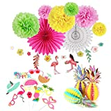 Easy Joy Summer Party Hawaii Mottoparty Ananas Tischdeko Flamingo Girlande Kokosnuß Foto Requisiten Geburtstagsdeko Kit Bunt