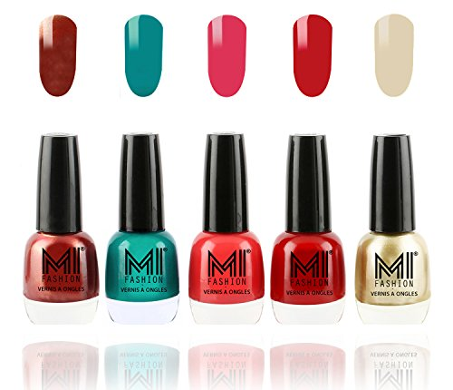 MI Fashion Ultra Glam Pigmented Nail Polish Combo - Reddish Bronze, Sea Green, Carrot Red, Rouge Red and Creamy Golden - 12ml each